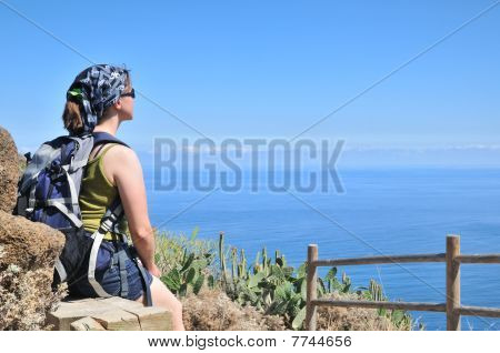 Young Woman Looking On Sea View