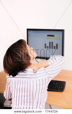 Business Woman With Neck Pain