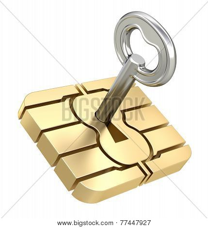 SIM card chip with the key