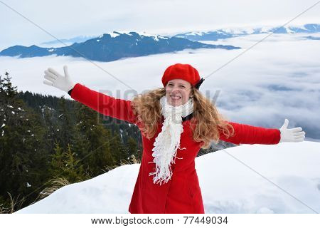 Young blonde happy woman