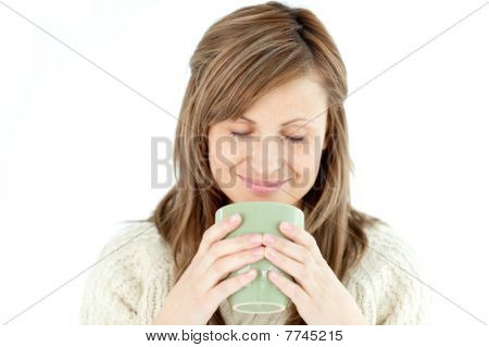 Delighted Woman Holding A Cup A Coffee