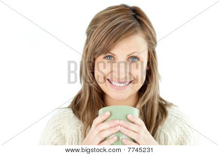 Smiling Woman Holding A Cup A Coffee