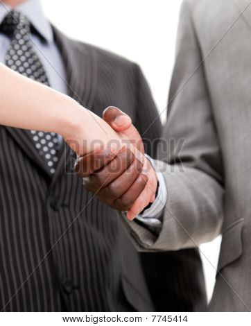Close-up Of A Handshake Between Two Businesspeole