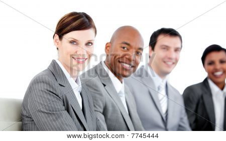 Portrait Of Smiling Business Team During A Presentation