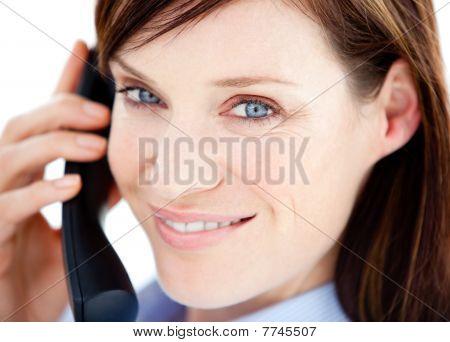 Caucasian  Businesswoman On The Phone