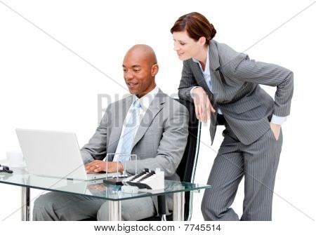 Business Partners Working On The Computer