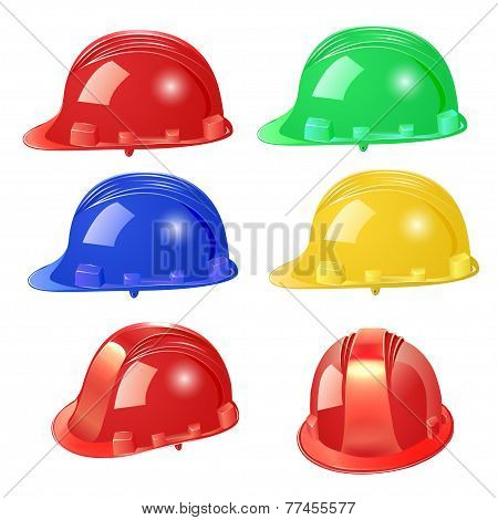 Set Of Building Helmet On A White Background