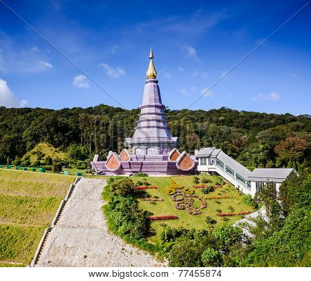 Two pagoda on the top in an Inthanon mountain, Chiang Mai, Thailand.