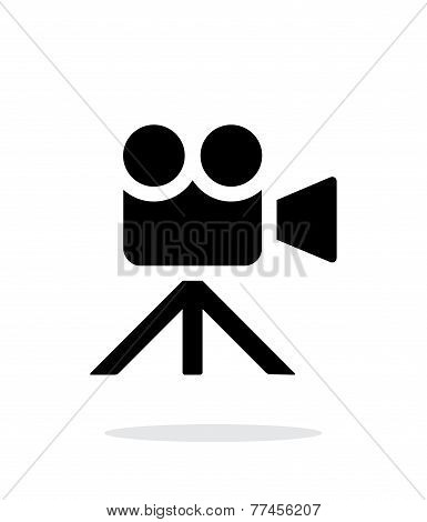 Movie camera simple icon on white background.