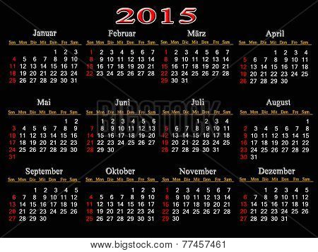 Black Calendar For 2015 Year