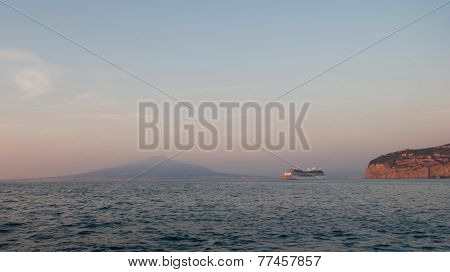 The Cruise Ship In The Gulf Of Naples