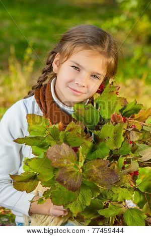 Little Girl With Red Viburnum