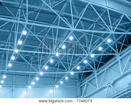 azul iluminación industrial de almacén Interior