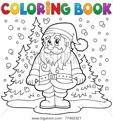 Coloring book Santa Claus in snow 3 - eps10 vector illustration.