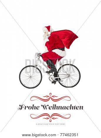 Santa claus delivering gifts with bicycle against border