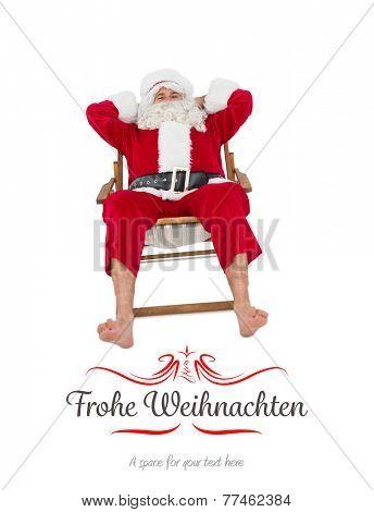 Happy santa relaxing on deckchair against border