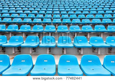 Empty seats of stadium's stand