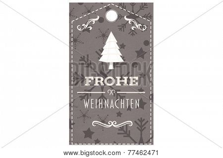 Frohe weihnachten banner against snowflake wallpaper pattern