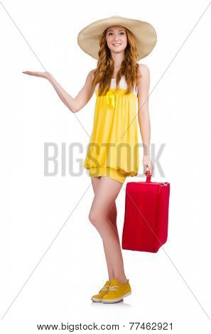 Young girl with travel case holding isolated on white