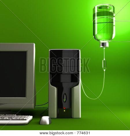 Sick Computer (Green Background)