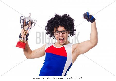 Funny man after winning gold cup isolated on white