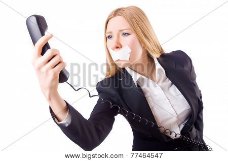 Woman with her mouth sealed isolated on white