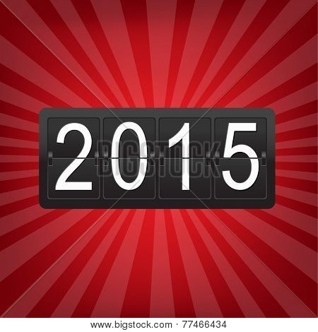 New Years Counter With Sunburst With Gradient Mesh, Vector Illustration