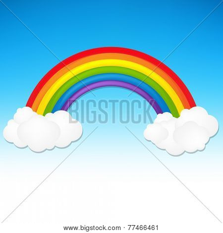 Color Rainbow With Cloud With Gradient Mesh, Vector Illustration