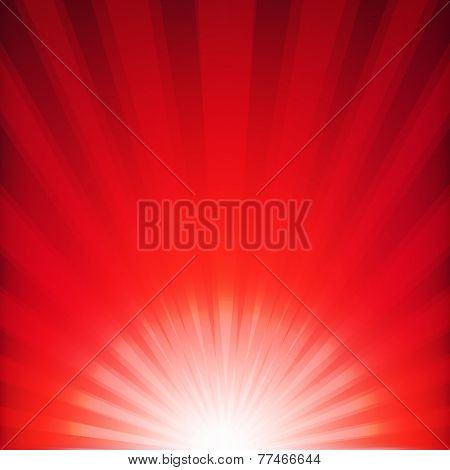 Red Xmas Burst Poster With Gradient Mesh, Vector Illustration