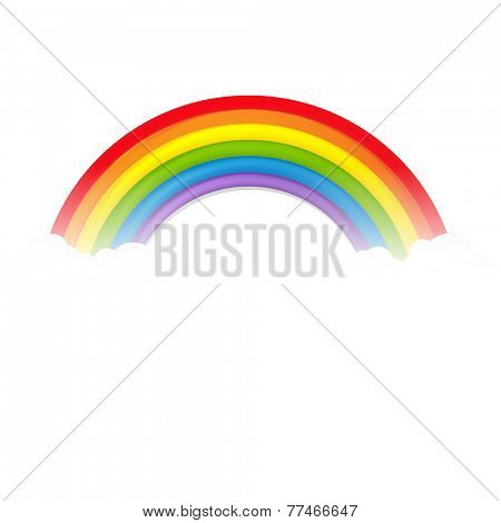 Colorful Rainbow With Clouds With Gradient Mesh, Vector Illustration