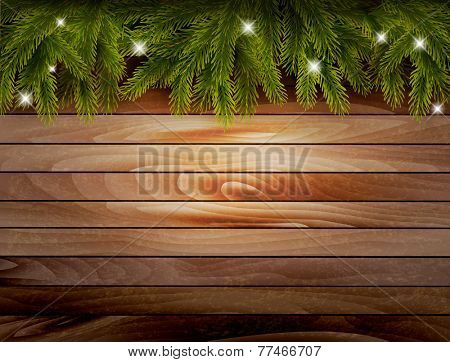 Christmas wooden background with branches and baubles. Vector