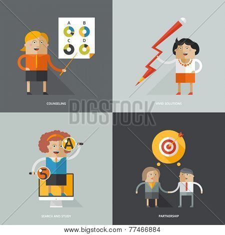 Set of flat design vector illustration concepts for business, web, mobile marketing, creative idea, searching, cosulting, partnership