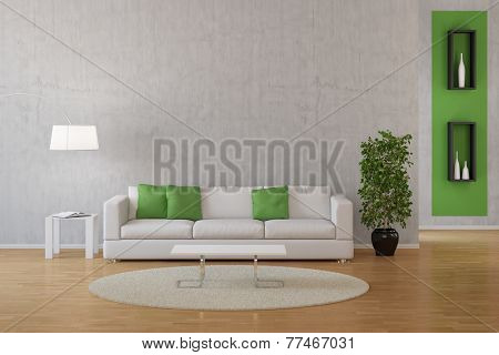 Interior of living room with sofa and carpet with green decoration (3D Rendering)