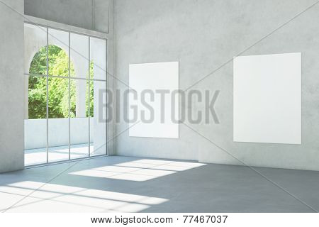 White empty canvas on wall in a museum with concrete (3D Rendering)