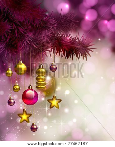 glimmered Christmas background with evening baubles
