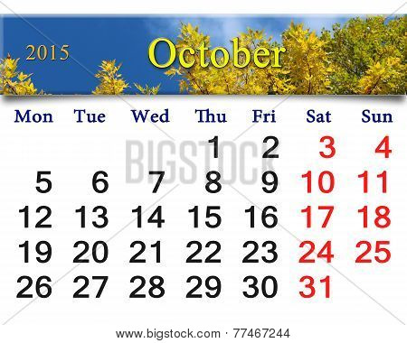 Calendar For October Of 2015 With Autumn Leaves