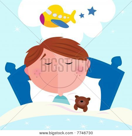 Small boy sleeping in bed and dreaming about airplane