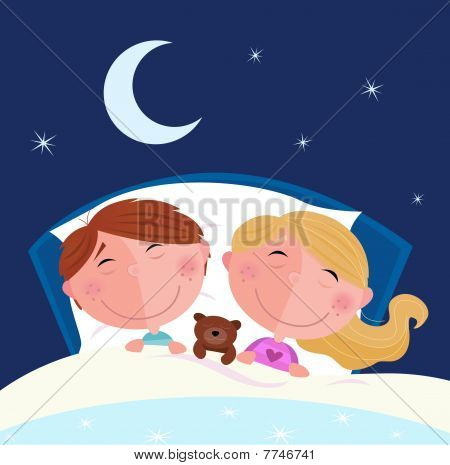 Siblings - boy and girl sleeping and dreaming in bed