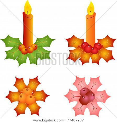 Isolated Christmas Candles and Mistletoes Vectors