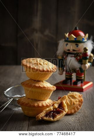 Festive mince pie stack with Christmas decoration