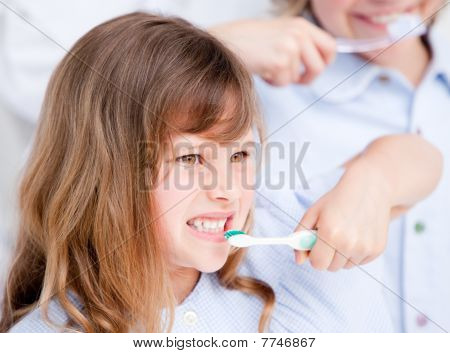 Caucasian Girl Brushing His Teeth