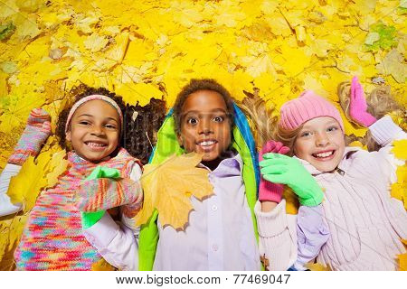 group of boy and girls in the autumn leaves