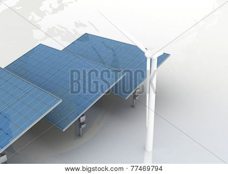 Windmills and Solar Panels on globe background. Alternative Energy Concept.