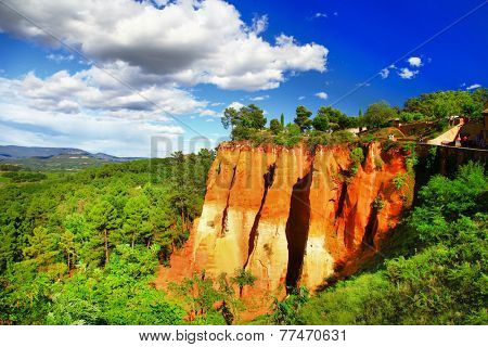 rocks of natural ochre in Roussillon, Provence, France