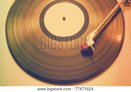 vintage vinyl player, retro film filtered, instagram style