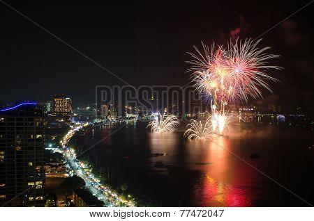 Fireworks New Year 2014 - 2015 Celebration At Pattaya Beach, Thailand