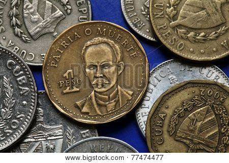 Coins of Cuba. Cuban national hero Jose Marti depicted in the Cuban one peso coin.