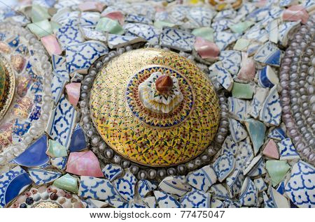 Wall Background Decorated With Thai Porcelain