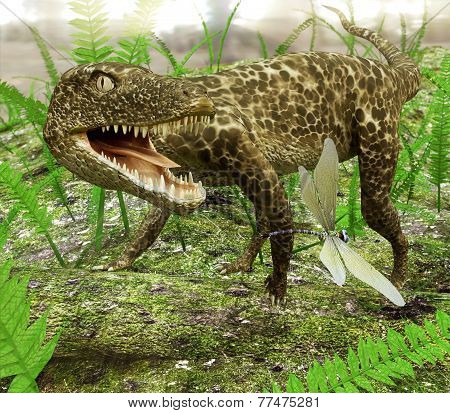Hesperosuchus Chasing A Dragonfly