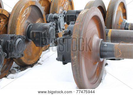 Railcar wheels on the axles